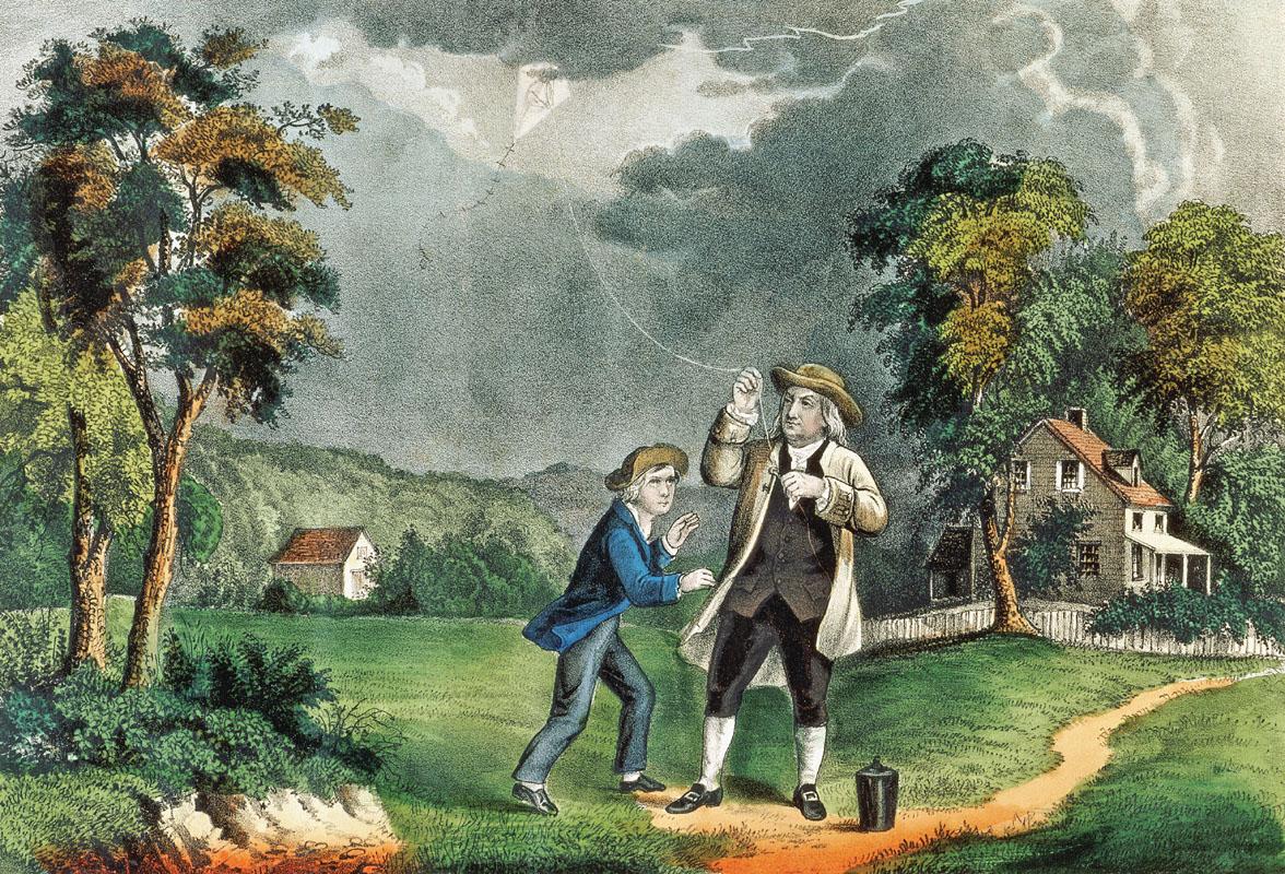 Benjamin Franklin tước bỏ vũ khí của các vị thần.