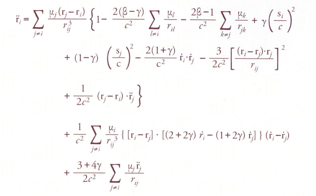 Phương trình để tính toán gia tốc khối lượng i dưới ảnh hưởng của trọng lực theo thuyết tương đối