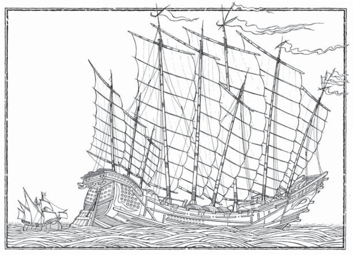 Tàu đô đốc của Trịnh Hòa, bên cạnh là thuyền của Columbus.